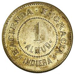 Indiera (Lares Municipio), Puerto Rico, brass 1 almud hacienda token, no date (late 1800s), Hacienda