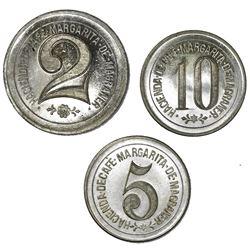 Lot of three Rio Prieto (Lares Municipio), Puerto Rico, german silver tokens, no date (late 1800s),