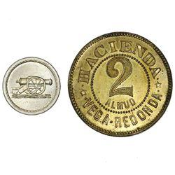 Lot of two Puerto Rico tokens: Mayaguez, copper-nickel 5 centavos, no date (1895), Adjuntas Ferreter