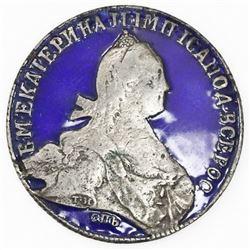 Russia, 1 rouble, Catherine II (the Great), 1773-(SPB)-(YA)(CH), St. Petersburg mint, obverse enamel