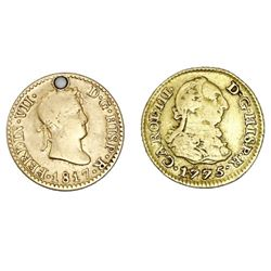 Lot of two Madrid, Spain, gold 1/2 escudos: Charles III, 1775PJ; Ferdinand VII, 1817GJ.