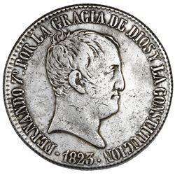 Madrid, Spain, 20 reales de vellon, Ferdinand VII, 1823SR.