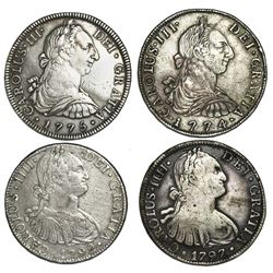Lot of four Spanish colonial bust 8 reales of Charles III and IV (Bolivia: 1774JR; Mexico: 1775FM, 1