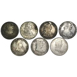 Lot of seven Spanish colonial bust 8 reales of Charles IV and Ferdinand VII (Mexico: 1795FM, 1804TH,