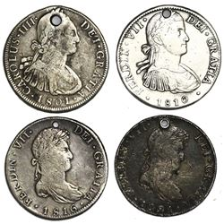 Lot of four Spanish colonial bust 8 reales of Charles IV and Ferdinand VII (Bolivia: 1801PP; Mexico: