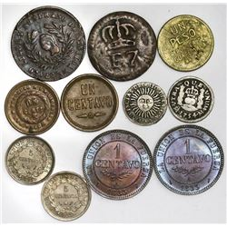 Lot of eleven miscellaneous Latin American coins in various metals, 1700s-1900s.