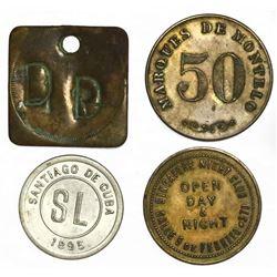 Lot of four miscellaneous Caribbean/Mexican tokens: San Luis, Cuba (Oriente Province / Santiago de C