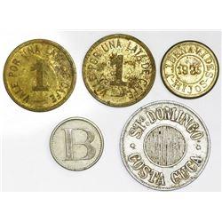 Lot of five miscellaneous Central American tokens: San Jose, Costa Rica, brass 1 cajuela coffee toke