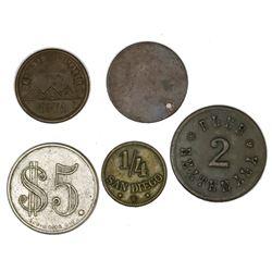 Lot of five miscellaneous Guatemala tokens in various metals, 1800s-1900s: copper-nickel $5 Jacinto