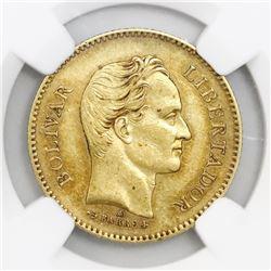 Venezuela (struck in Paris, France), gold 5 venezolanos, 1875-A, NGC AU 55.