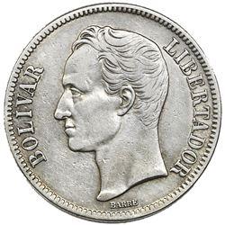 Venezuela (struck in Philadelphia), (5 bolivares), 1919.