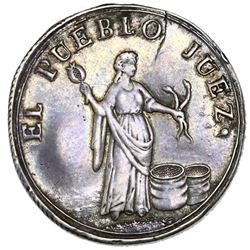 Guatemala, silver 2 reales-sized medal, 1837, trial by jury.