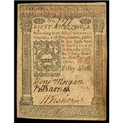 Pennsylvania, 50 shillings, Oct. 1, 1773, serial 7177.