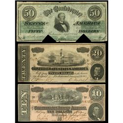 Lot of three Confederate States notes, 1861-64.