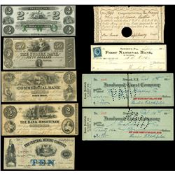 Lot of five obsolete notes and four checks, 1790-1914.