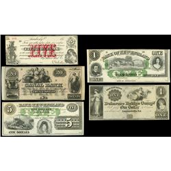 Lot of five obsolete remainder notes, mid-1800s.
