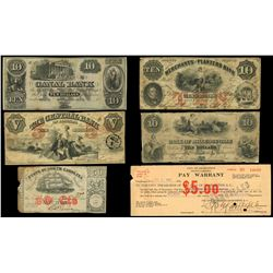 Lot of five Southern States obsolete notes and one check, 1854-1932.