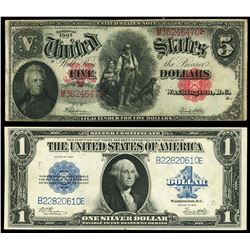 Lot of two USA (Washington, D.C. notes: United States Note, $5, series of 1907, serial M36246470, Sp