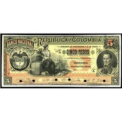 Bogota, Colombia, Banco Nacional, 5 pesos front proof, 1-3-1888.