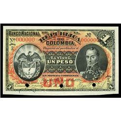 Bogota, Colombia, Banco Nacional, 1 peso specimen, 4-3-1895, series (Xi).