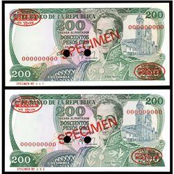 Lot of two Bogota, Colombia, Banco de la Republica, 200 pesos oro specimens: 20-7-1978 and 1-1-1979.