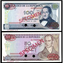 Lot of two Bogota, Colombia, Banco de la Republica, specimen notes: 100 pesos oro, 1-1-1968, series
