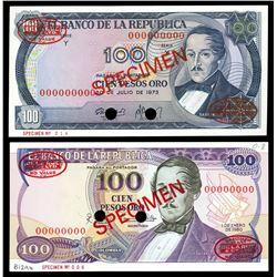 Lot of two Bogota, Colombia, Banco de la Republica, 100 pesos oro specimens: 20-7-1973, series Y; 1-