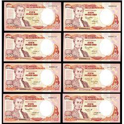 Lot of seventeen Bogota, Colombia, Banco de la Republica, 100 pesos oro, various serials, 1983-1991.