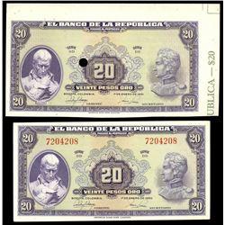 Lot of two Bogota, Colombia, Banco de la Republica, 20 pesos oro, series DD notes: issued example, 1