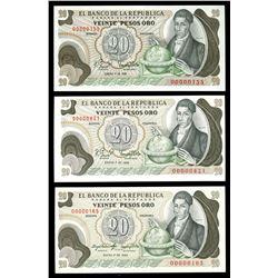 Lot of three Bogota, Colombia, Banco de la Republica, 20 pesos oro notes with low serial numbers: 1-
