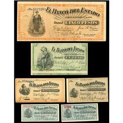 Lot of eight Popayan, Colombia, Banco del Estado notes of 1900.