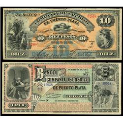Lot of two Puerto Plata, Dominican Republic, Banco de la Compania de Credito, no date (1880-9) remai