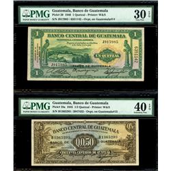 Lot of two Guatemala, Banco de Guatemala overprinted on Banco Central notes: 1 quetzal, 12-8-1946, s