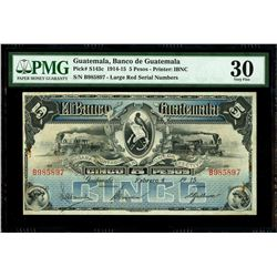 Guatemala, Banco de Guatemala, 5 pesos, 4-2-1915, serial B985897, PMG VF 30.