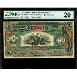 Guatemala, Banco de Occidente, 20 pesos, 2-6-1919, serial 1434412, PMG VF 20.