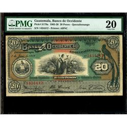 Guatemala, Banco de Occidente, 20 pesos, 2-6-1919, serial 1434412, PMG VF 20.