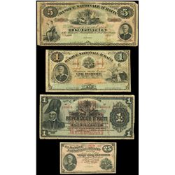 Lot of four Port au Prince, Haiti notes: Banque Nationale, 5 piastres remainder, 1875, serial 25522;