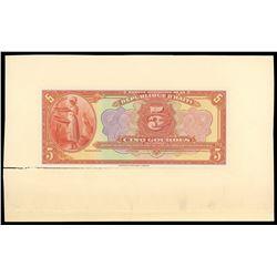 Lot of three Haiti, Banque Nationale de la Republique proofs: 5 gourdes front and back proof, 1919 (