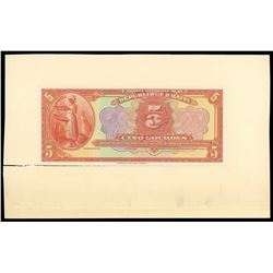Lot of three Haiti, Banque Nationale de la Republique proofs: 5 gourdes front and back proof, 1919 (