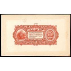 Lot of two Haiti, Banque Nationale de la Republique back proofs of 2-5-1919 (1920-4): 5 and 2 gourde