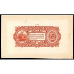 Lot of two Haiti, Banque Nationale de la Republique back proofs of 2-5-1919 (1920-4): 5 and 2 gourde