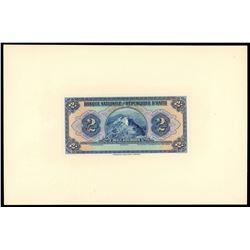 """Lot of two Haiti, Banque Nationale de la Republique, 2 gourdes front proofs: 1919 (1925-32), """"POUR C"""