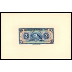 "Lot of two Haiti, Banque Nationale de la Republique, 2 gourdes front proofs: 1919 (1925-32), ""POUR C"