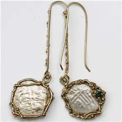 Pair of Mexico City, Mexico, cob 1R, Charles II, assayers not visible, mounted in 14K gold-wire earr