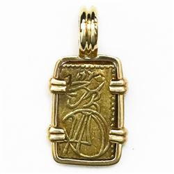"""Japan, gold 2 shu (nishu gin, """"samurai coin""""), mid-1800s, mounted in 14K gold pendant."""