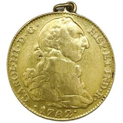 Madrid, Spain, gold bust 4 escudos, Charles III, 1782JD, with soldered gold loop.