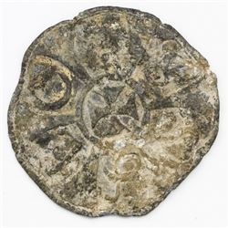 "Large lead cloth-bale seal with Maltese cross design, ex-""Bramble Wreck"" (mid-1600s)."