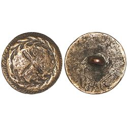Small bronze button, cross within wreath border design, ex-Colebrooke (1778).
