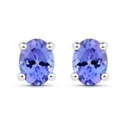0.40 ctw Tanzanite Earrings 14K White Gold - REF-9F6W