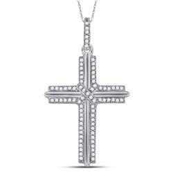 Mens Diamond Cross Charm Pendant 1/5 Cttw 10kt White Gold